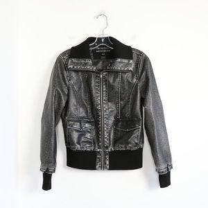 Moto Gear black thick faux leather biker jacket M